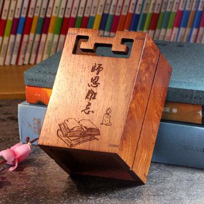 中国风实木刻字笔筒